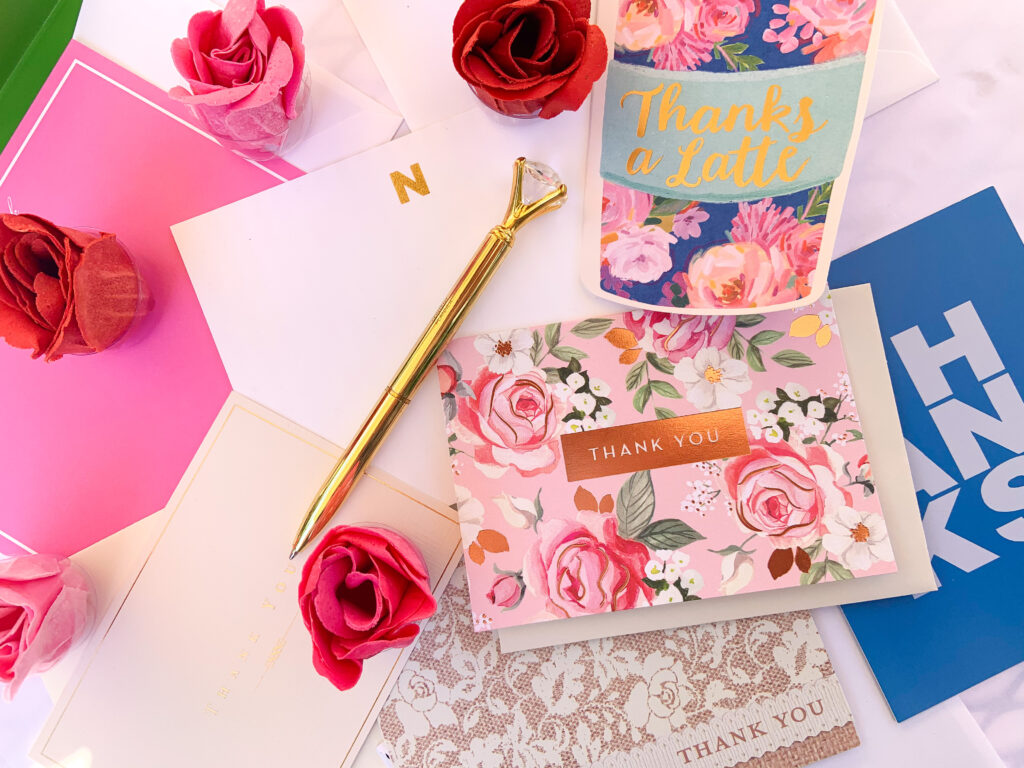An assortment of pretty thank you cards