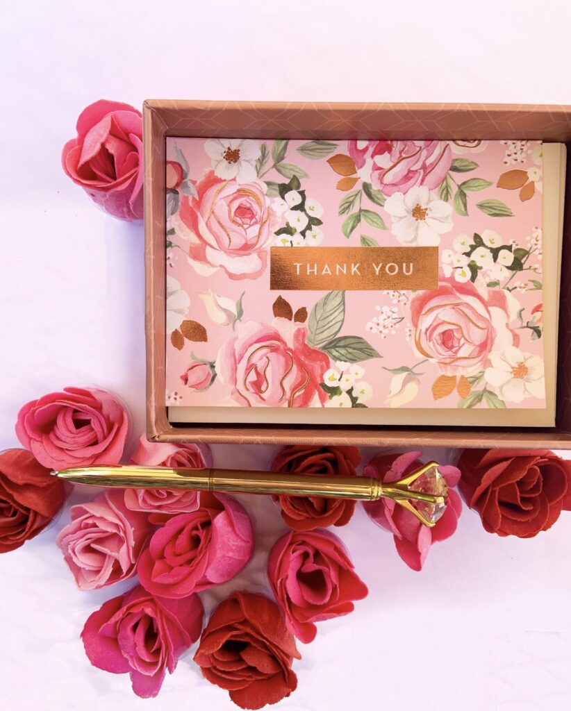 Thank you cards with roses